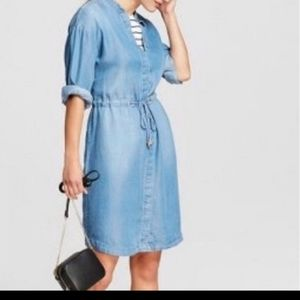 A New Day Chambray Shirt Dress with Drawstring